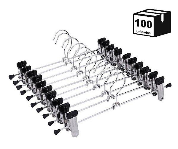 Kit 100 Cabides Com Presilhas Cromado para Calça, Saia ou Bermuda