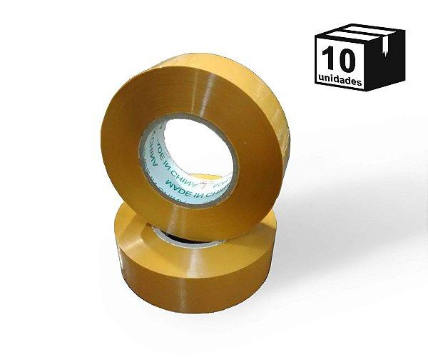 Kit 10 Fita Adesiva Larga Amarela 500m
