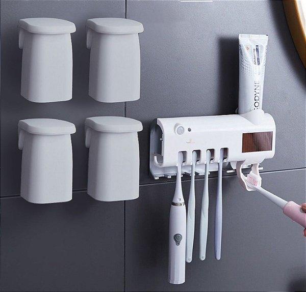Kit Porta Escovas de Dentes + 4 Copo Enxaguante Bucal