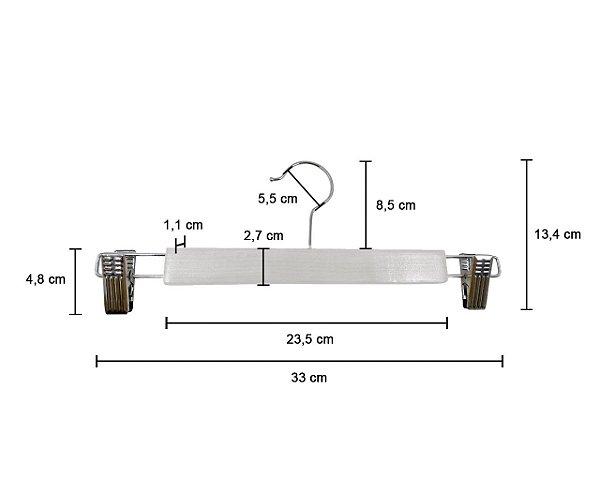 Kit 10 Cabide de Madeira Marfim para Saia e Shorts