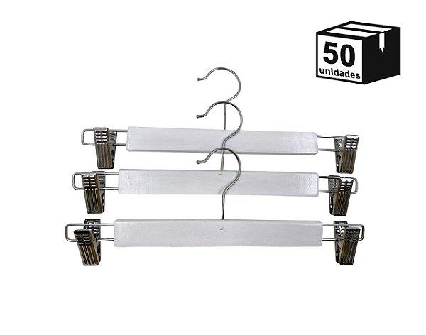 Kit 50 Cabide de Madeira Marfim para Saia Alta Resistência
