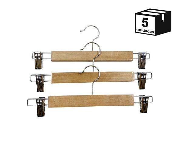 Kit 5 Cabide de Madeira Marfim para Saia de Alta Resistência