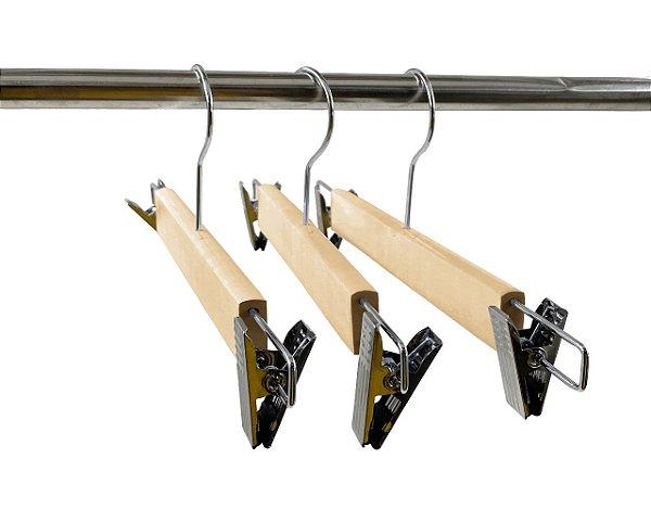 Kit 20 Cabide de Madeira Marfim de Saia de Alta Resistência