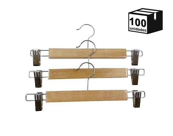 Kit 100 Cabide de Madeira Marfim de Saia de Alta Resistência