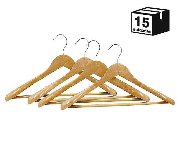 Kit 15 Cabides Terno Casaco de Madeira Alta Resistência Luxo