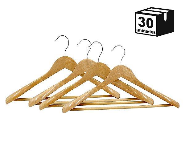Kit 30 Cabides Terno Casaco de Madeira Alta Resistência Luxo