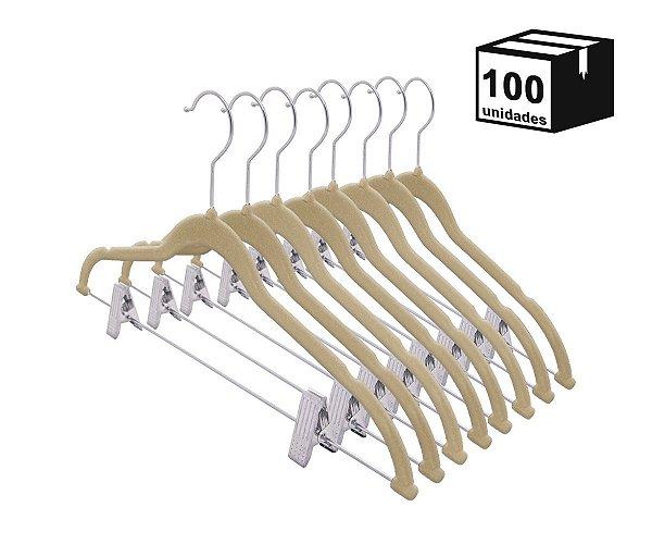 Kit 100un Cabides de Veludo Bege Antideslizante com Presilha