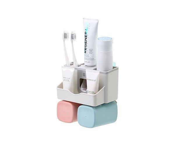 Kit 2 Dispenser Para Pasta Dental Com 4 Copos
