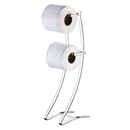 Porta Papel Higiênico Duplo De Chão Em Aço Luxo P/ Banheiro