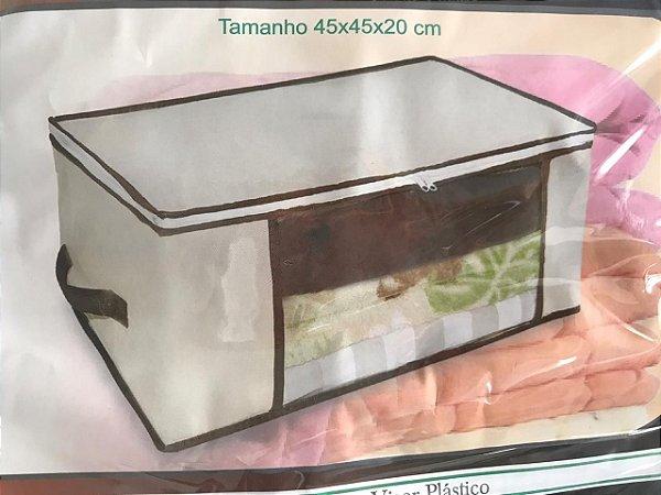 Caixa Para Guarda Roupas Organizadora 60x45 em TNT Bege