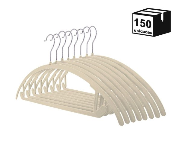 Kit 150 Cabide de Veludo Arco Bege