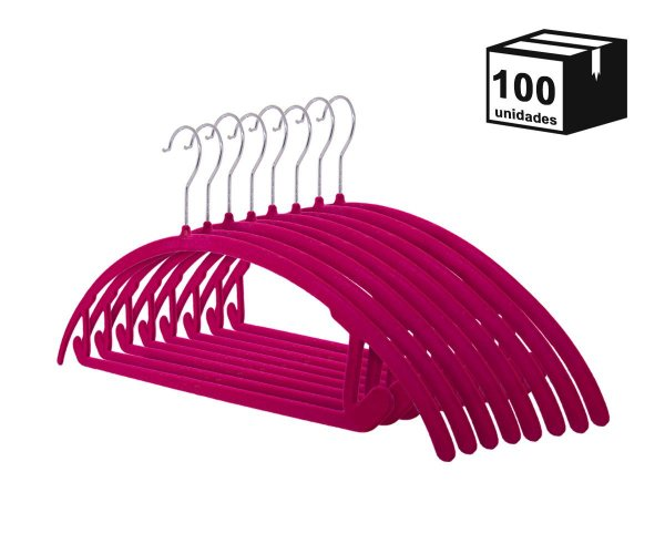 Kit 100 Cabide de veludo arco Pink