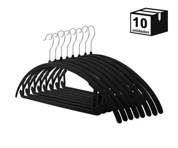 Kit 10 Cabide de Veludo Arco Preto