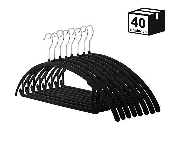 Kit 40 Cabide de Veludo Arco Preto