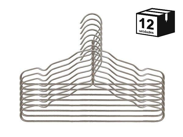 Kit 12 Cabide Luxo de alumínio Cor Champagne