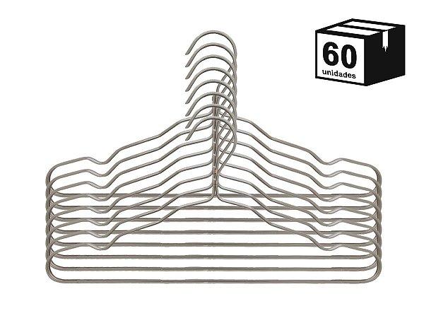 Kit 60 Cabide Luxo de alumínio Cor Champagne