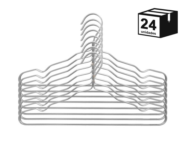 kit 24 Cabide Luxo de alumínio Cor Prata