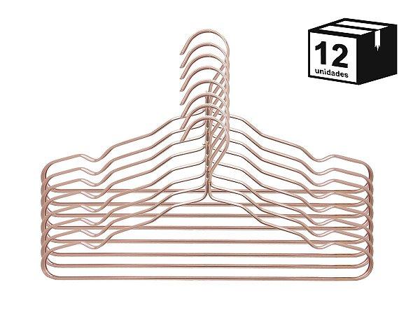 Kit 12 Cabides Luxo Executivo De Alumínio Rosa