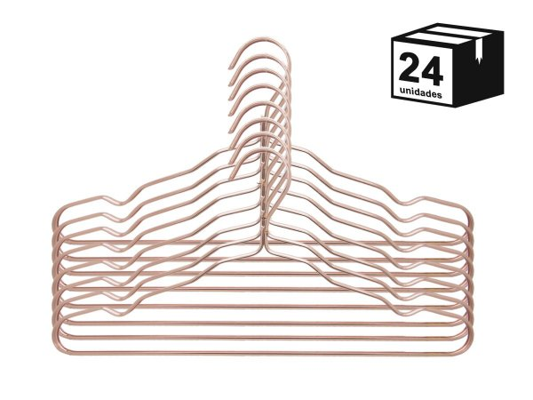 Kit 24 Cabide Luxo de alumínio Cor Rosa