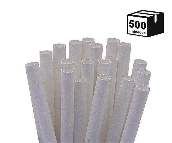 Kit 500 Canudos de Papel Biodegradável 10mm Branca