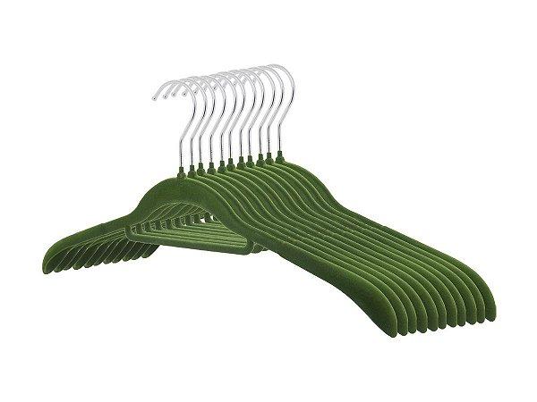 Kit 50 Cabides De Veludo Ombreira Suporte Lenço Cinto Verde