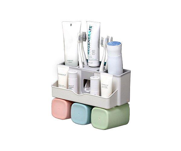 Dispenser Creme Dental + 3 Copos Para Enxaguante Bucal