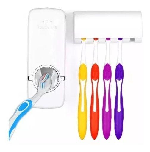Kit 15 Dispenser Automático Pasta  Dente + Suporte Escovas