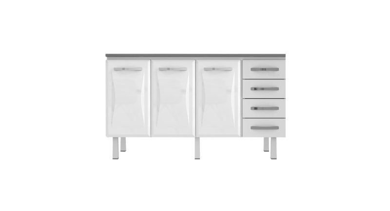 Gabinete De Aço Home Branco Com 3 Portas E 4 Gavetas - VITRALFER