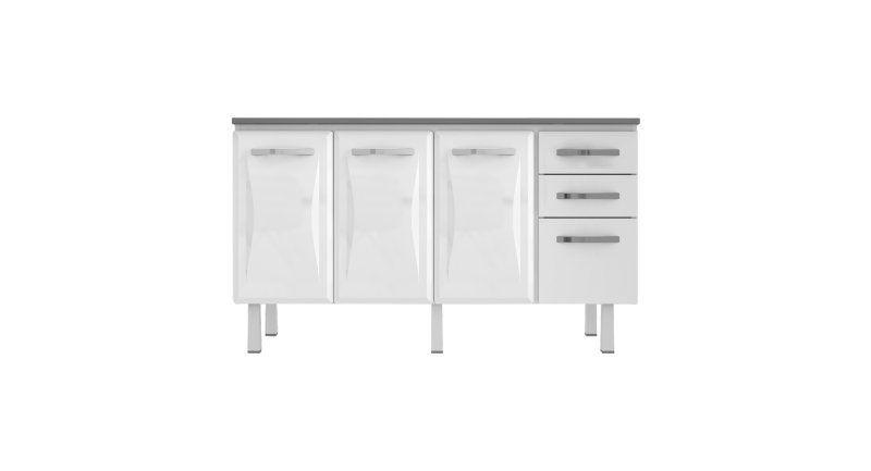 Gabinete De Aço Home Branco Com 3 Portas E 3 Gavetas - VITRALFER