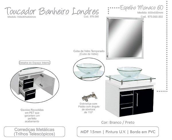 Toucador de banheiro Londres - LOCATT