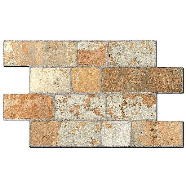 Revestimento Savane Camel Bricks Quebec Rústico Plano 31x54 cm