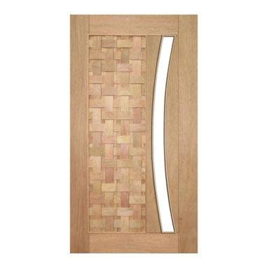 Porta Pivotante Couro Trançado para Vidro em Arco