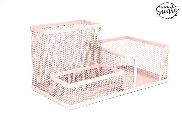 Porta objetos metálico - Cor rosa salmão