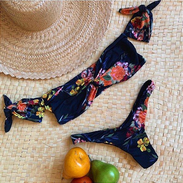 Havaí top manguinha nó floral azul