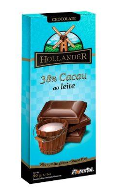 CHOCO HOLLANDER 38% CACAU AO LEITE 90G - UNIDADE