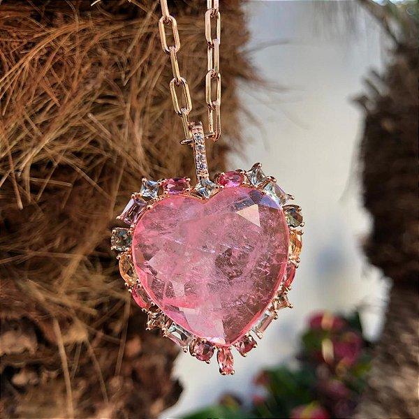 Colar Rosé Coração Turmalina Rosa