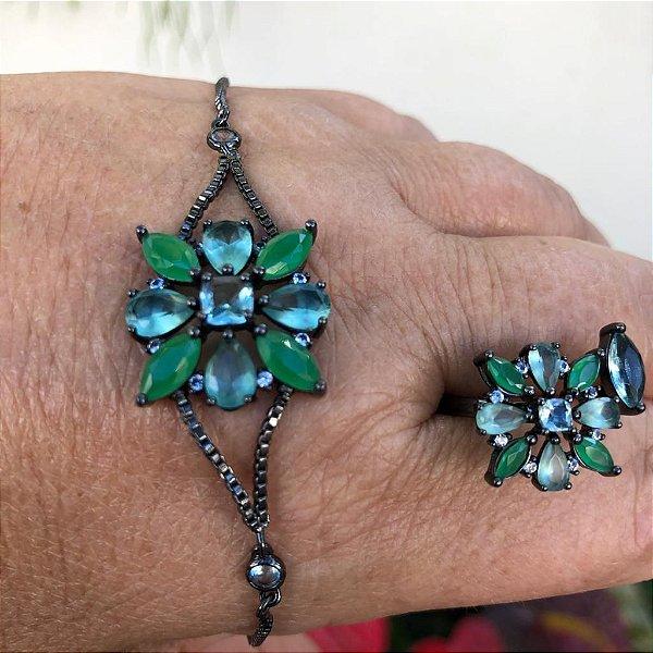 Pulseira Flor Esmeralda
