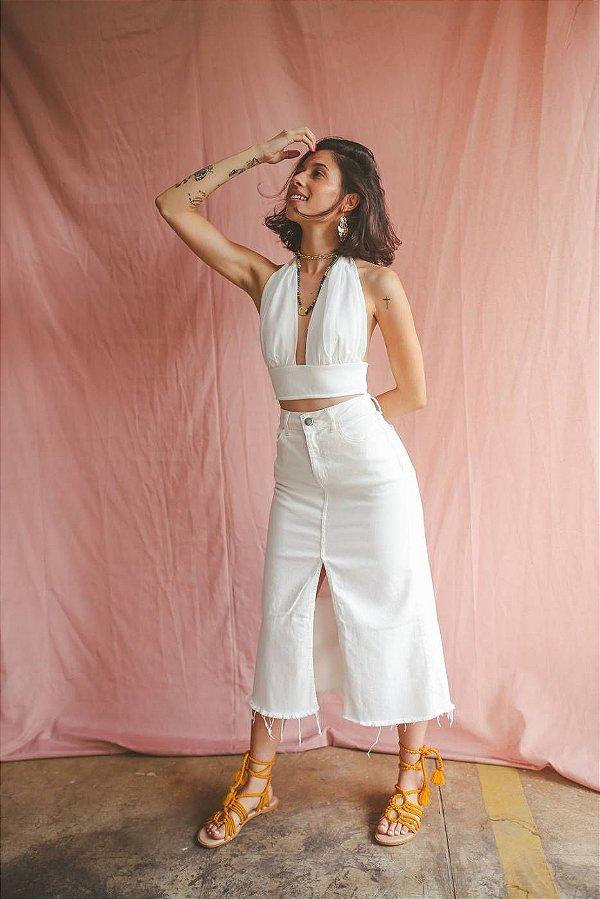Saia Midi Jeans Branca