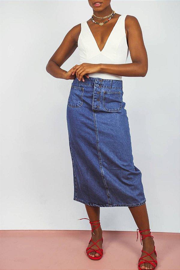 Saia Midi Jeans Shop