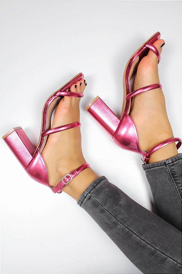 Sandália Salto Cora Metalizada