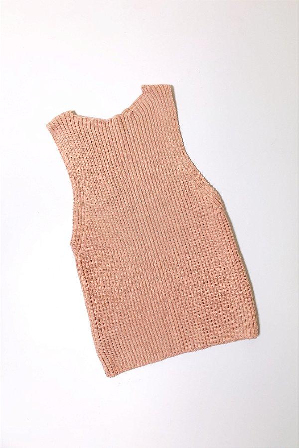 Cropped Canelado Tricot Rosa Seco