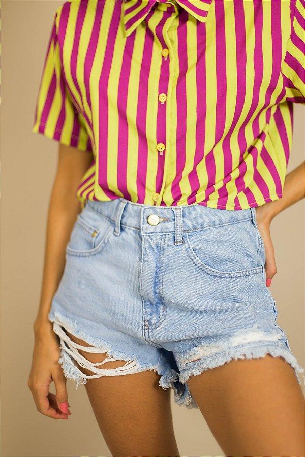 Short Jeans Destroyed Claro