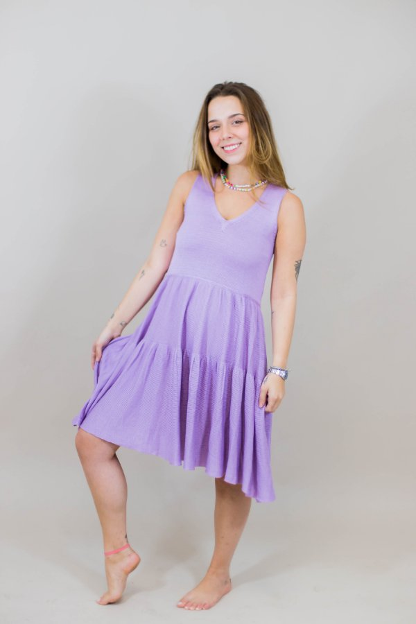 Vestido Tricot Lomita Lilás