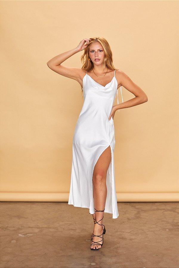 Vestido Slip Cetim Branco