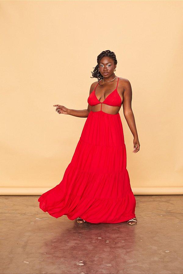 Vestido Longo Open Vermelho