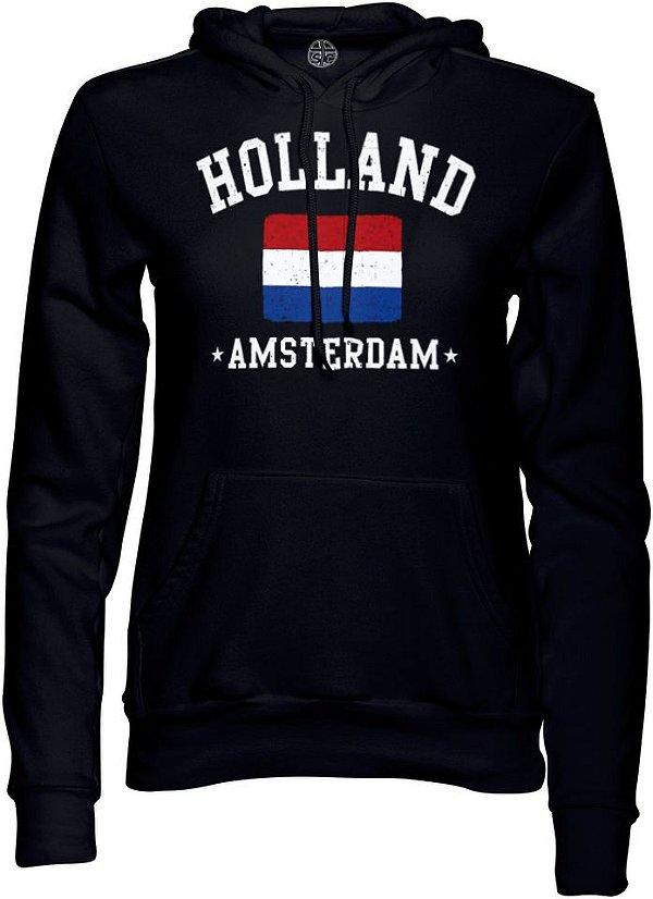 Moletom com capuz forrado Unissex Holanda Amsterdã