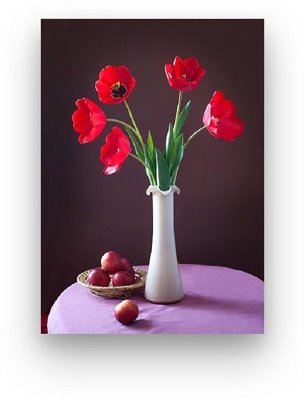 Quadro Decorativos Floral Flor Vermelha Sala Quarto Varanda