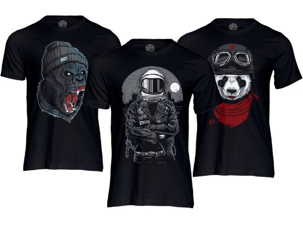 Kit 3 Camisetas Masculinas Estampadas Algodão Premium Preta