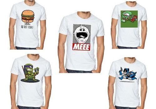 Kit 5 Camisetas Masculinas Básicas Varias Estampas