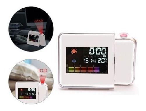 Relógio Despertador C/ Higrômetro Termômetro Projetor Horas
